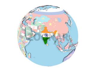India on globe isolated