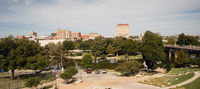 Fall Afternoon Blue Sky Lubbock Texas Downtown City Skyline Riverfront Park