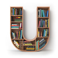 Letter U. Alphabet in the form of shelves with books isolated on white.