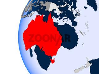 Map of Australia on political globe