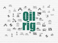 Manufacuring concept: Oil Rig on wall background