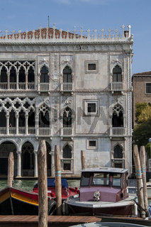 Facade of Ca D'Oro palace on Grand Canal in Venice, Italy