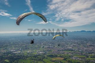 Paraglider flying in Bassano del Grappa