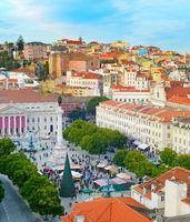 Rossio square overview. Lisbon, Portugal