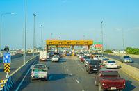 Cars toll road  Bangkok Thailand