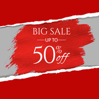 Sale Banner With Ripped Red Paper