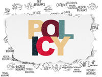 Insurance concept: Policy on Torn Paper background