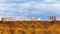view of park and TV tower in Moscow city in autumn