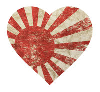 Heart shaped grunge vintage Japan Nippon flag