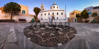 Panorama of Panagia Platsani Orthodox Church in the Morning, Oia, Santorini, Greece