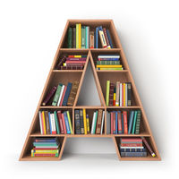 Letter A. Alphabet in the form of shelves with books isolated on white.
