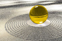 Glass ball in the sand, 3D illustration