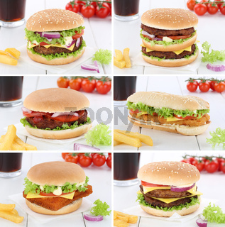 Hamburger Sammlung Collage Cheeseburger Menu Menü Menue Getränk