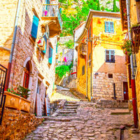 Picturesque street in Old town of Kotor