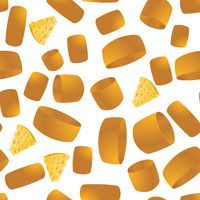 Cheese Seamless Pattern. Yellow Food Backround. Made from Cows Milk. Natural Product.