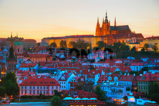 Overview of Prague with St Vitus Cathedral