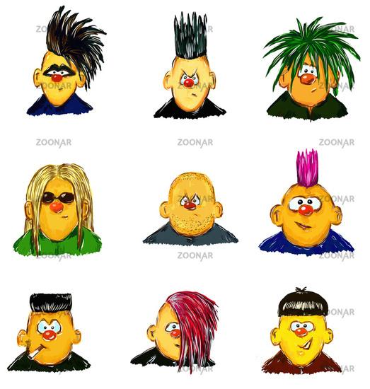 Foto Verschiedene Gemalte Comic Gesichter Mit Schrillen Frisuren