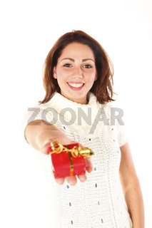 Young Cute Woman Offering A Nice Present