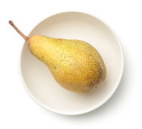 Pear in Bowl Isolated on White Background