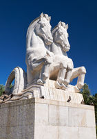 Statue of mythical hippocampus in the garden of Empire Square. Lisbon. Portugal