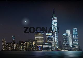 Night City Skyline with Glowing Skyscrapers