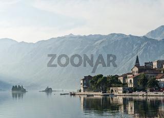 perast traditional balkan village mountain landscape near kotor in montenegro