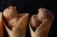 Sweet ice cream In waffle cone