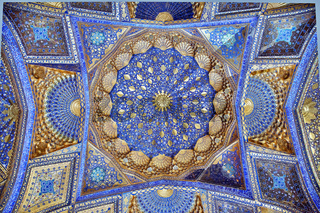 SAMARKAND, UZBEKISTAN - MAY 04, 2014: Ceiling of Aksaray mausoleum