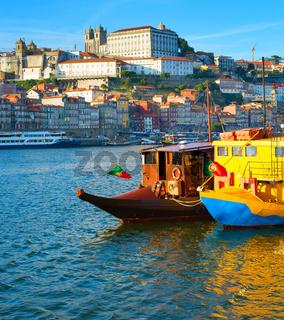 Porto tourist boats river. Portugal
