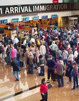 Queue at airport immigration, Singapore