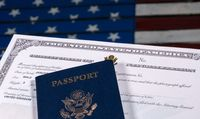 USA passport and naturalization certificate over US Flag