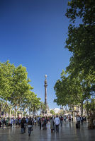famous las ramblas pedestrian avenue landmark in downtown barcelona spain