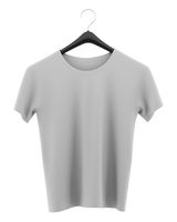 gray t-shirt on clothing hanger isolated on white background. 3d illustration