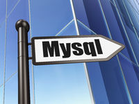 Database concept: sign MySQL on Building background