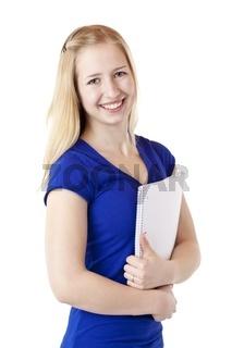 Junge hübsche blonde Studentin mit College Block lacht glücklich