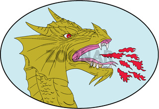 Dragon Head Breathing Fire Oval Drawing