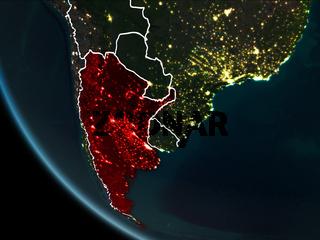 Satellite view of Argentina at night
