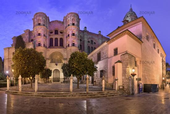 Panorama of Malaga Cathedral in the Morning, Malaga, Andalusia, Spain