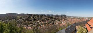 Stadt Wernigerode Panorama mit Berg Brocken