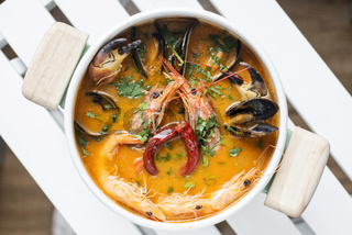 mixed fresh creamy spicy seafood soup