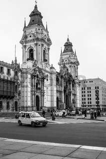 City Life in Front of The Basilica Cathedral at the Plaza Mayor in Lima, Peru