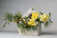 decorative bouquet in a wooden box