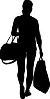 Silhouette of People carrying bag luggage on White Background