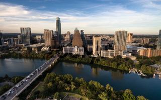 Aerial View Colorado River Downtown City Skyline Austin Texas USA