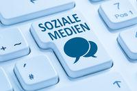 Soziale Medien soziales Netzwerk Freundschaft Kontakte Internet Computer Tastatur blau