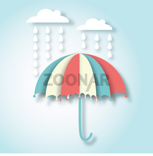 paper art vector illustration with umbrella and rain drops