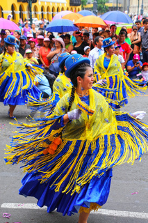 Local women dancing during Festival of the Virgin de la Candelaria in Lima, Peru.