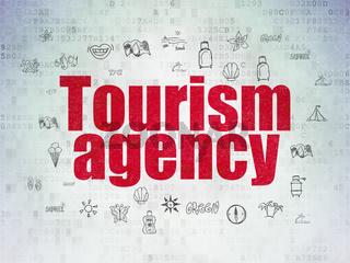 Tourism concept: Tourism Agency on Digital Data Paper background