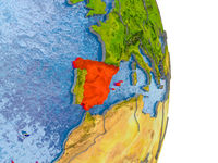 Spain on realistic globe