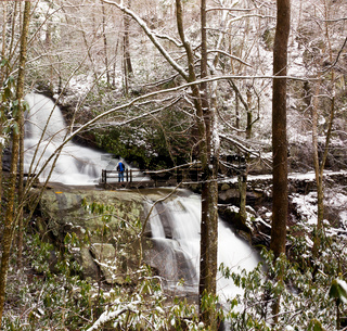 Laurel Falls in Smoky Mountains in snow